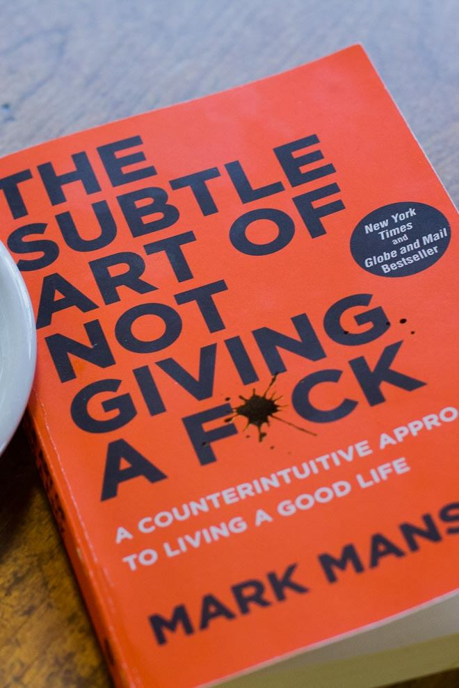 2017\'s buzz self-help book. The Subtle Art of Not Giving a Fuck by Mark Manson.